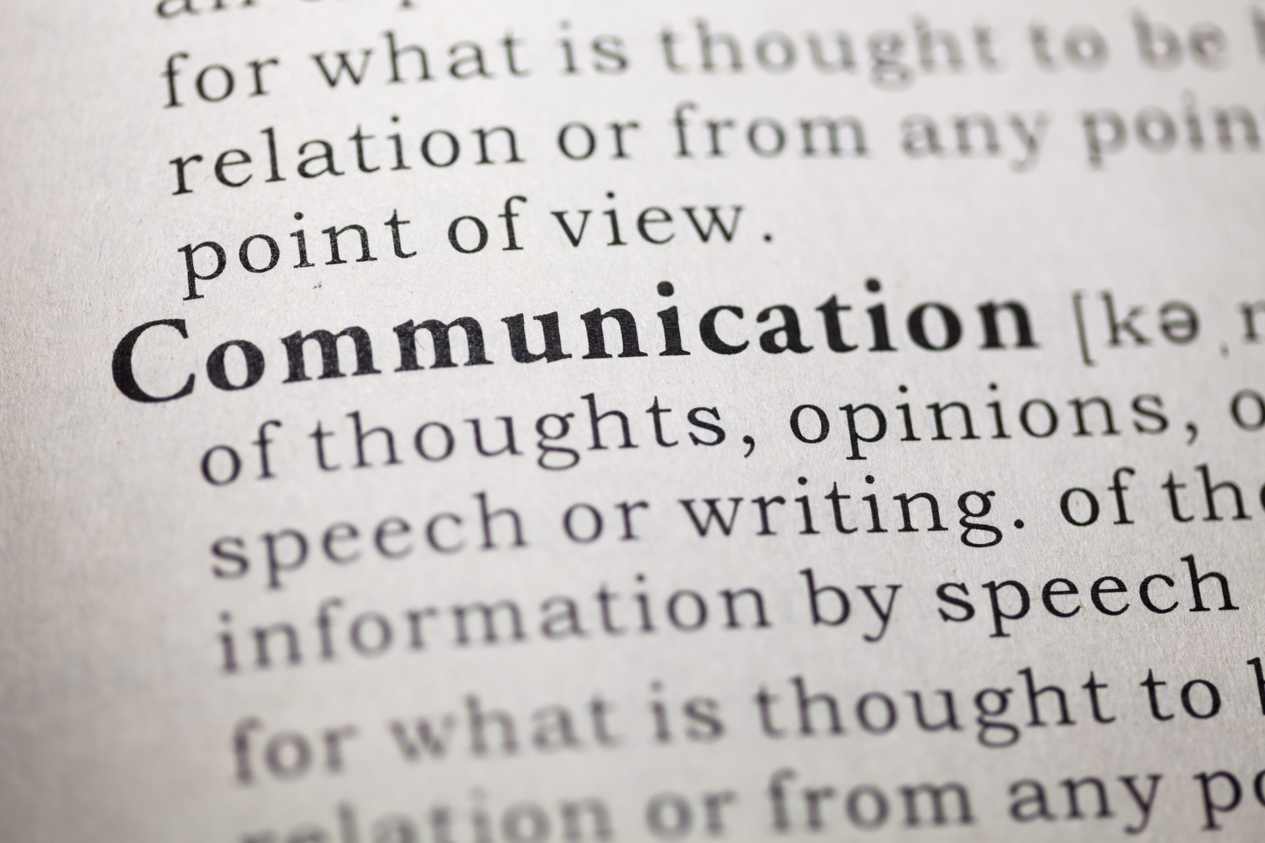 Dictionary definition of the word 'communication'