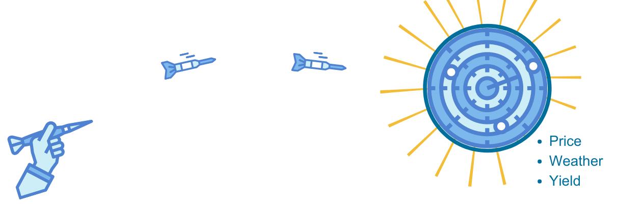Darts thrown at moving targets