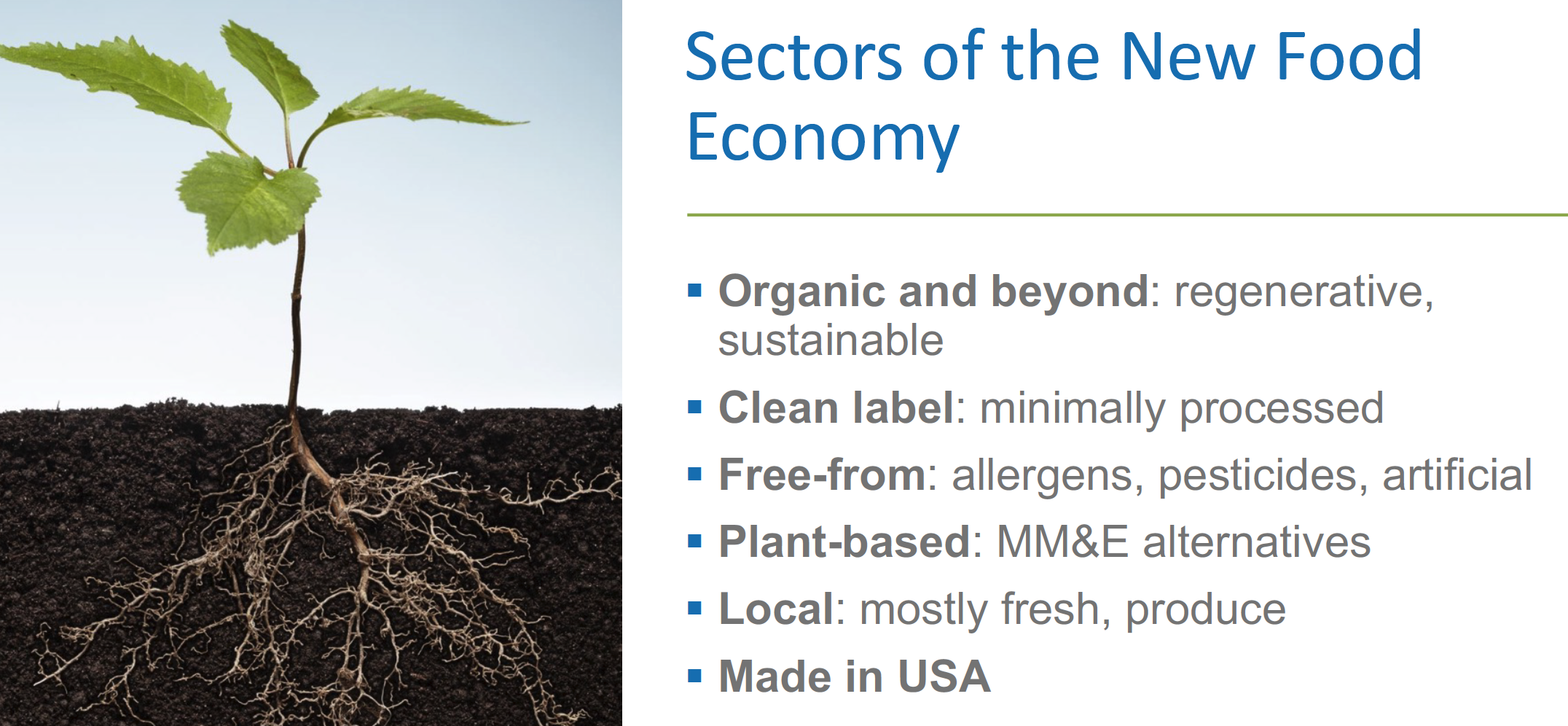 Sectors of the new food economy
