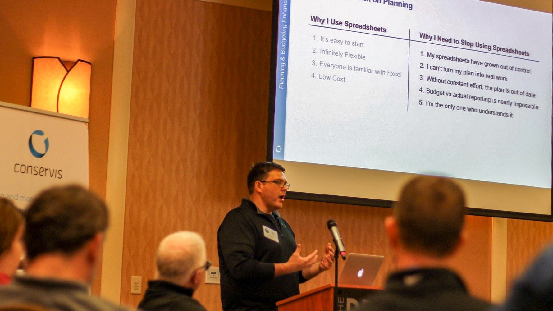 Stu Clark presenting at a Conservis customer summit